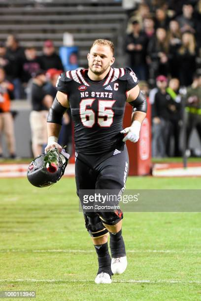 North Carolina State Wolfpack center Garrett Bradbury during the college football game between Wake Forest Demon Deacons and the North Carolina State...