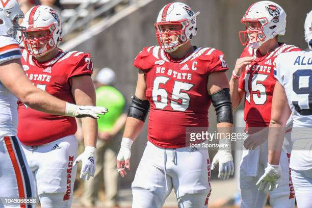 North Carolina State Wolfpack center Garrett Bradbury prepares to line up for the next play during the game between the NC State Wolfpack and the...