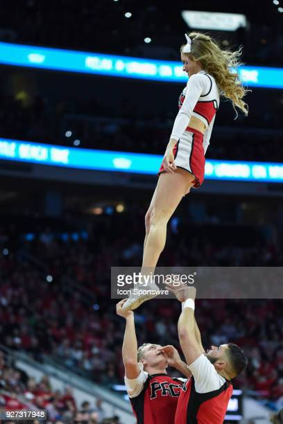 North Carolina State Wolfpack cheerleaders during the men's college basketball game between the Louisville Cardinals and the North Carolina State...