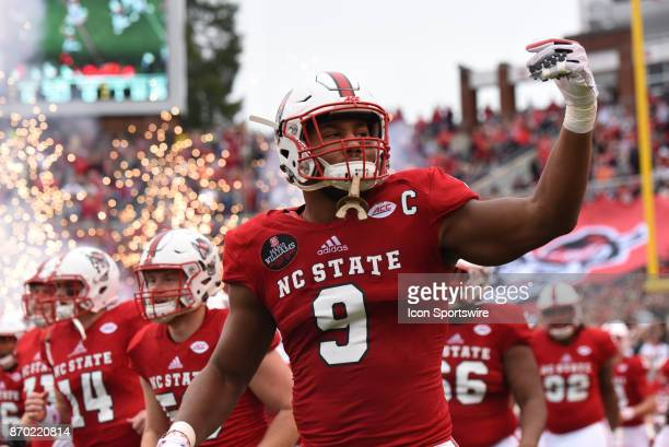 North Carolina State Wolfpack defensive end Bradley Chubb enters the field before the game between the Clemson Tigers and the NC State Wolfpack on...