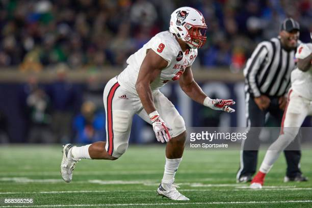 North Carolina State Wolfpack defensive end Bradley Chubb runs to make a tackle during the college football game between the Notre Dame Fighting...