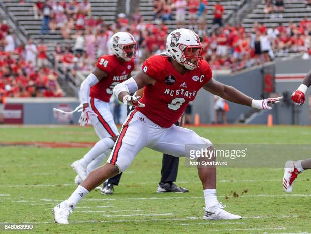 North Carolina State Wolfpack defensive end Bradley Chubb watches for the run during the NCAA football game between the North Carolina State Wolfpack...