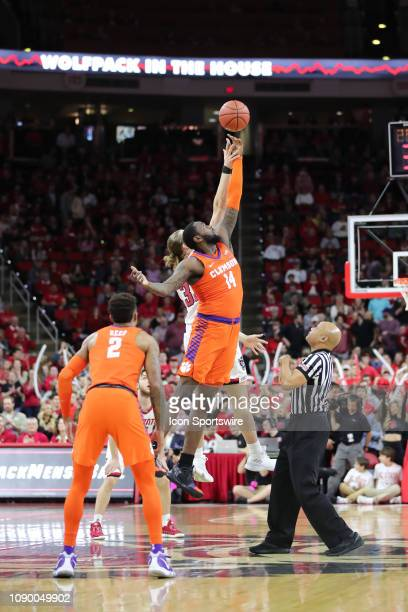 North Carolina State Wolfpack forward Wyatt Walker and Clemson Tigers forward Elijah Thomas tipoff during the 1st half of the NC State Wolfpack game...