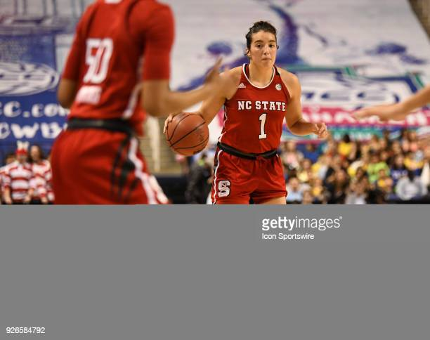 North Carolina State Wolfpack guard Aislinn Konig dribbles upcourt during the ACC women's tournament game between the NC State Wolfpack and the Duke...