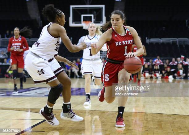 North Carolina State Wolfpack guard Aislinn Konig drives against Mississippi State Lady Bulldogs guard Roshunda Johnson in the first quarter of a...