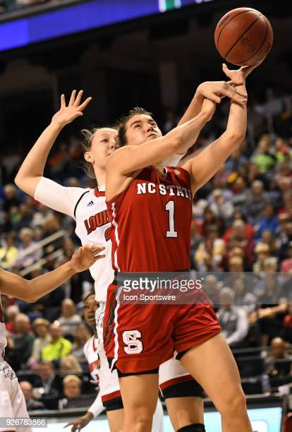 North Carolina State Wolfpack guard Aislinn Konig is fouled on a shot during the ACC women's tournament game between the NC State Wolfpack and the...