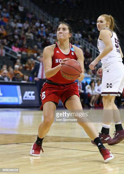 North Carolina State Wolfpack guard Aislinn Konig prepares to take a jumper in the lane in the first quarter of a third round NCAA Division l Women's...