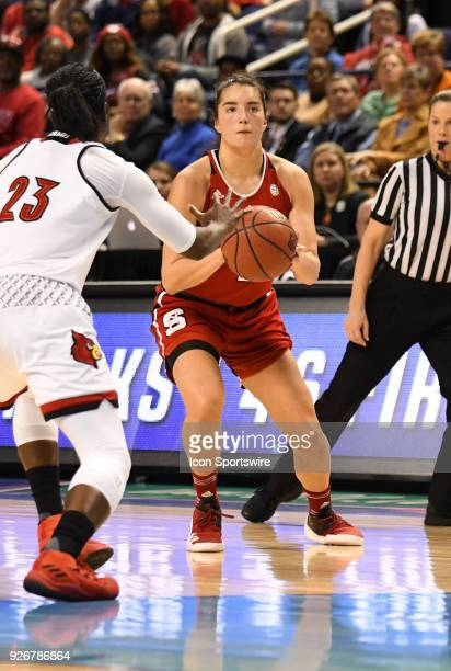 North Carolina State Wolfpack guard Aislinn Konig sets up for a three point shot during the ACC women's tournament game between the NC State Wolfpack...