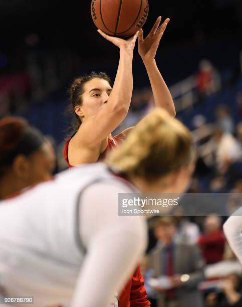 North Carolina State Wolfpack guard Aislinn Konig shoots a free throw during the ACC women's tournament game between the NC State Wolfpack and the...