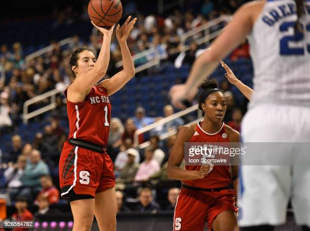 North Carolina State Wolfpack guard Aislinn Konig shoots during the ACC women's tournament game between the NC State Wolfpack and the Duke Blue...
