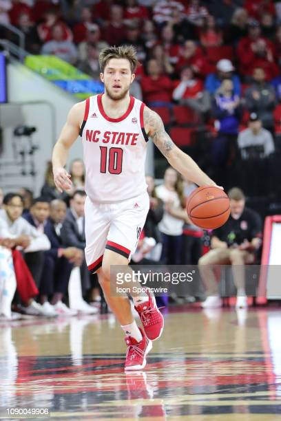 North Carolina State Wolfpack guard Braxton Beverly with the ball during the 1st half of the NC State Wolfpack game versus the Clemson Tigers on...
