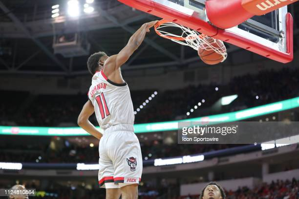 North Carolina State Wolfpack guard Markell Johnson dunks during the 1st half of the NC State Wolfpack game versus the Syracuse Orange on February...