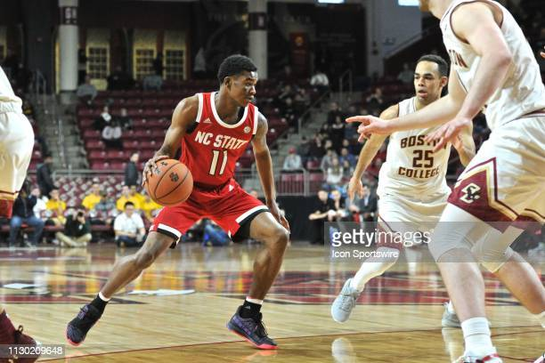 North Carolina State Wolfpack guard Markell Johnson gets ready to drive to the basket During the North Carolina State Wolfpack game against the...