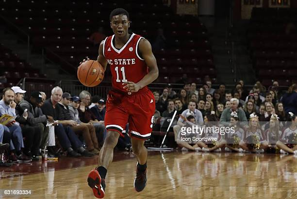 North Carolina State Wolfpack guard Markell Johnson looks to the corner during an ACC match up between the Boston College Eagles and the North...