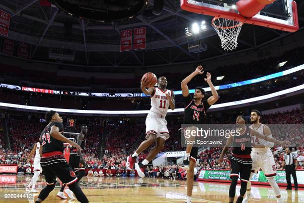North Carolina State Wolfpack guard Markell Johnson with the layup during the men's college basketball game between the Louisville Cardinals and the...