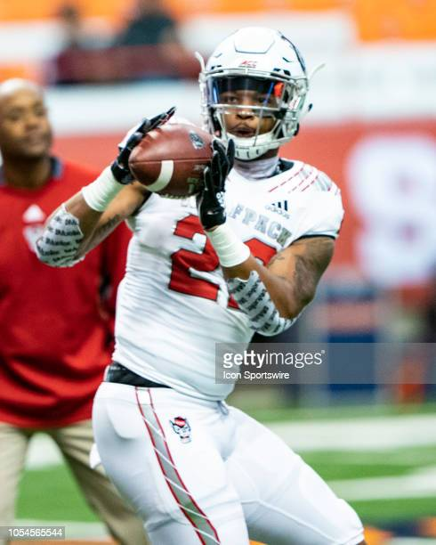 North Carolina State Wolfpack Safety Isaiah Stallings catches a pass during warm ups prior to the game between the North Carolina State Wolfpack and...