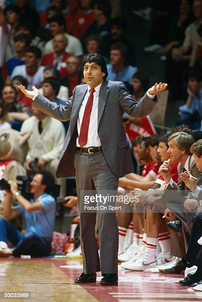 North Carolina State's basketball coach Jim Valvano gestures during a basketball game.