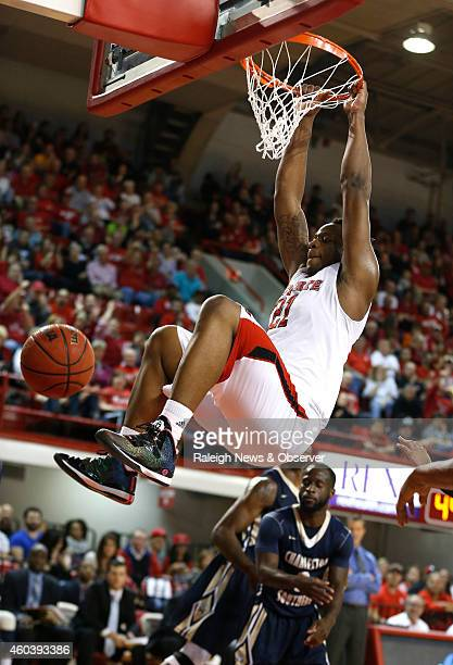 North Carolina State's Beejay Anya slams in two during the first half against Charleston Southern at Reynolds Coliseum in Raleigh NC on Friday Dec 12...