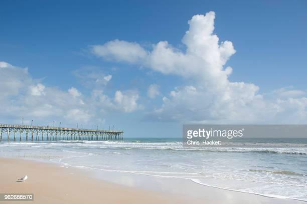 usa, north carolina, surf city, jetty over sea - hackett stock photos and pictures