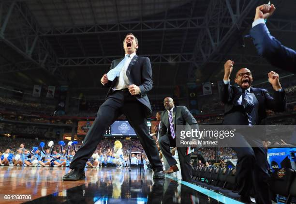 North Carolina Tar Heels assistant coach CB McGrath reacts in the second half against the Gonzaga Bulldogs during the 2017 NCAA Men's Final Four...