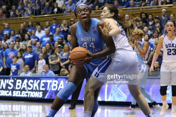 North Carolina Tar Heels center Janelle Bailey pushing past Duke Blue Devils center Bego Faz Davalos during the 2nd half of the Women's Duke Blue...