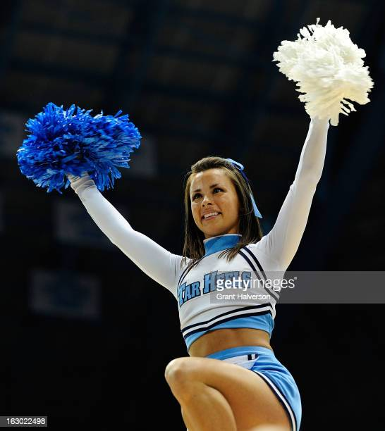 North Carolina Tar Heels cheerleader performs during a game against the Florida State Seminoles at Dean Smith Center on March 3 2013 in Chapel Hill...