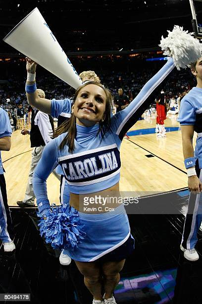 North Carolina Tar Heels cheerleader performs during the game against the against the Louisville Cardinals during the 2008 NCAA Men's East Regional...