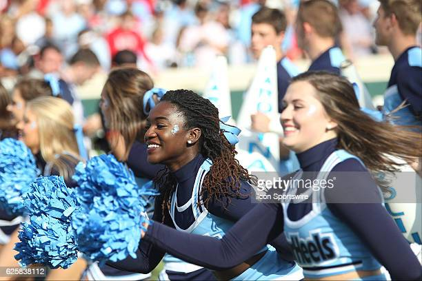 North Carolina Tar Heels cheerleaders during the NCAA football game between the North Carolina State Wolfpack and the North Carolina Tar Heels on...