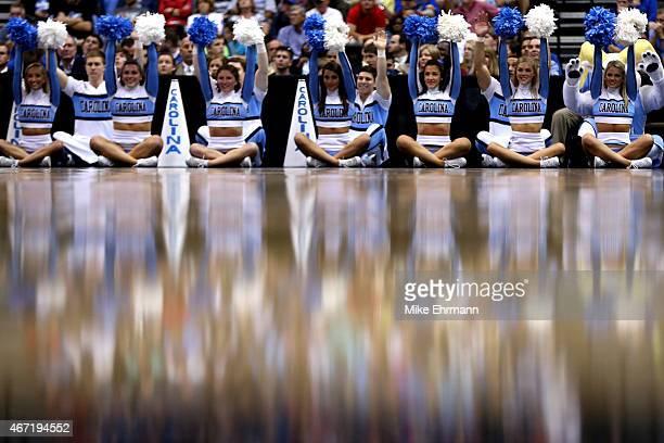 North Carolina Tar Heels cheerleaders perform as the North Carolina Tar Heels play the Arkansas Razorbacks during the third round of the 2015 NCAA...