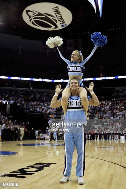 North Carolina Tar Heels cheerleaders perform during a break in the action against the Gonzaga Bulldogs during the NCAA Men's Basketball Tournament...