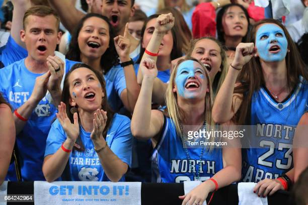 North Carolina Tar Heels fans cheer during the game against the Gonzaga Bulldogs during the 2017 NCAA Men's Final Four National Championship game at...