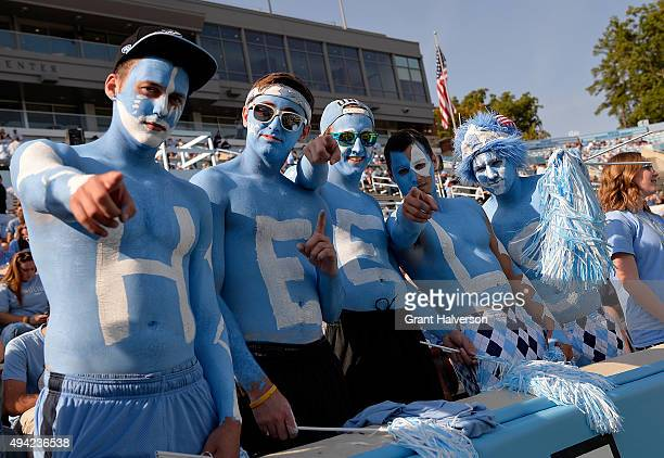 North Carolina Tar Heels fans during their game against the Virginia Cavaliers at Kenan Stadium on October 24 2015 in Chapel Hill North Carolina...