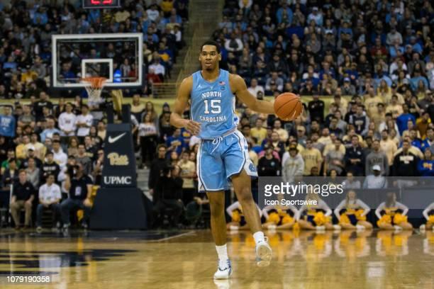 North Carolina Tar Heels forward Garrison Brooks brings the ball up the court during the college basketball game between the North Carolina Tar Heels...