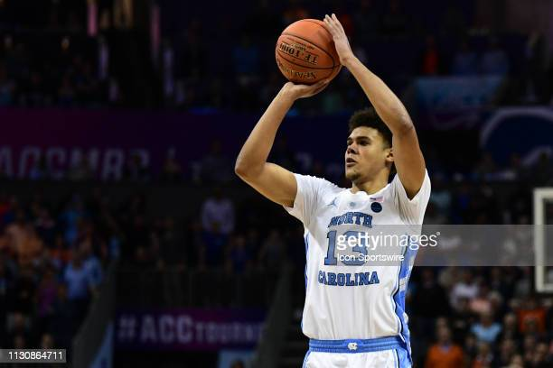 North Carolina Tar Heels guard Cameron Johnson shoots an open three point shot during the ACC basketball tournament between the Duke Blue Devils and...