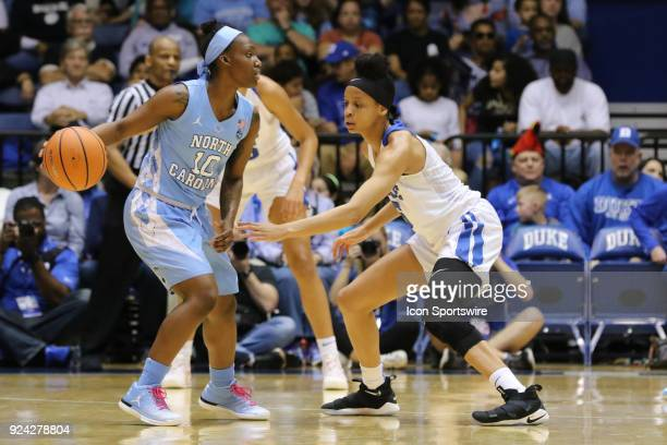 North Carolina Tar Heels guard Jamie Cherry and Duke Blue Devils forward Leaonna Odom during the 1st half of the Women's Duke Blue Devils game versus...