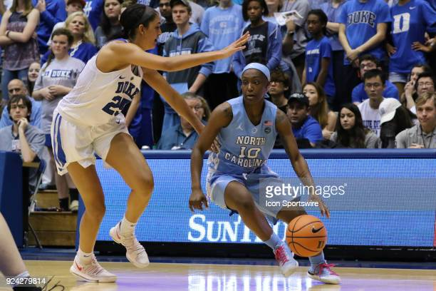 North Carolina Tar Heels guard Jamie Cherry and Duke Blue Devils forward/center Jade Williams during the 2nd half of the Women's Duke Blue Devils...