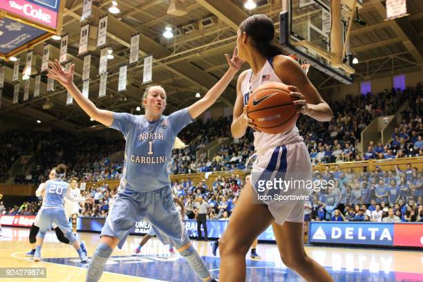 North Carolina Tar Heels guard Taylor Koenen and Duke Blue Devils guard/forward Faith Suggs during the 2nd half of the Women's Duke Blue Devils game...