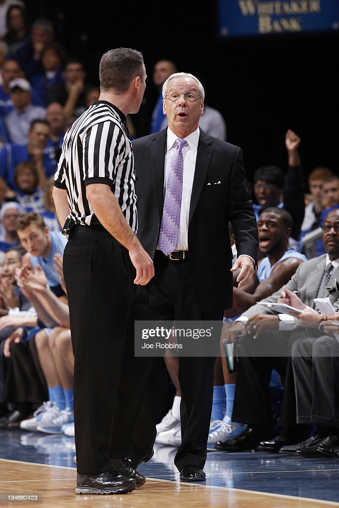 North Carolina Tar Heels head coach Roy Williams argues with a referee during the game against the Kentucky Wildcats at Rupp Arena on December 3, 2011 in Lexington, Kentucky. Kentucky won 73-72.