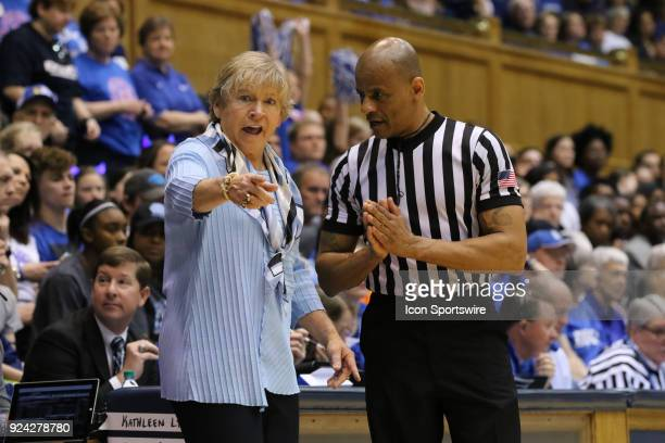 North Carolina Tar Heels head coach Sylvia Hatchell and Referee during the 1st half of the Women's Duke Blue Devils game versus the Women's North...
