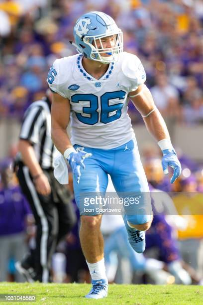 North Carolina Tar Heels linebacker Cole Holcomb looks to make a play during a game between the North Carolina Tar Heels and the East Carolina...