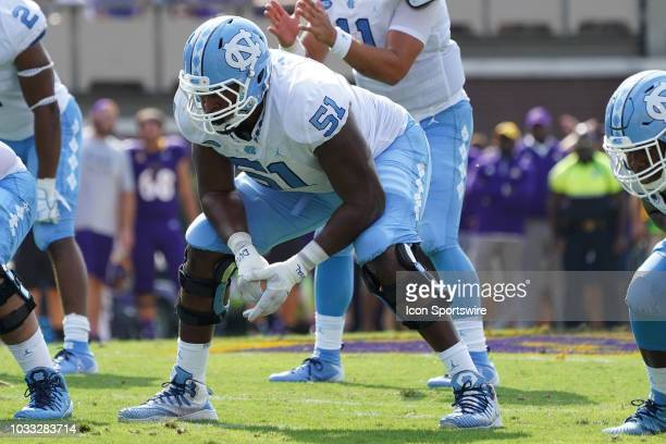North Carolina Tar Heels offensive tackle William Sweet prepares for a snap during a game between the East Carolina Pirates and the North Carolina...