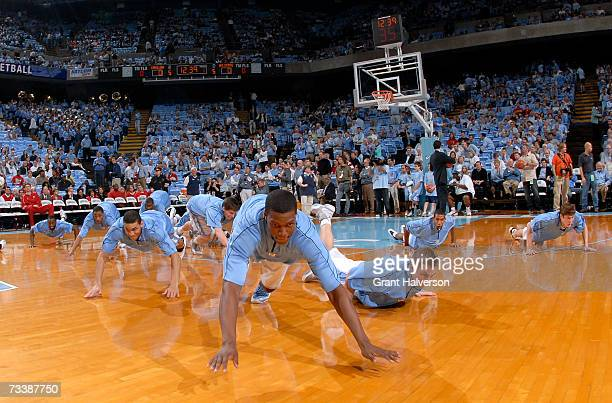 North Carolina Tar Heels players do warm up drills before a game against the North Carolina State Wolfpack on February 21 2007 at the Dean Smith...