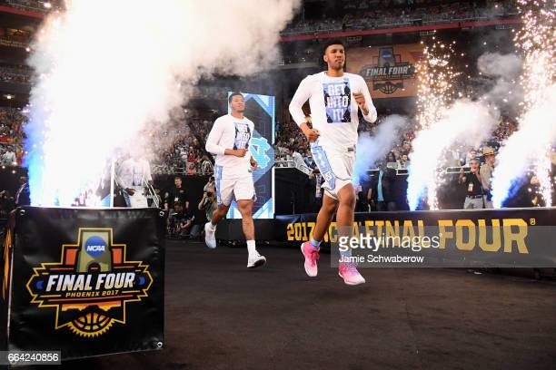 North Carolina Tar Heels players run out to the court priort to the 2017 NCAA Photos via Getty Images Men's Final Four National Championship game...