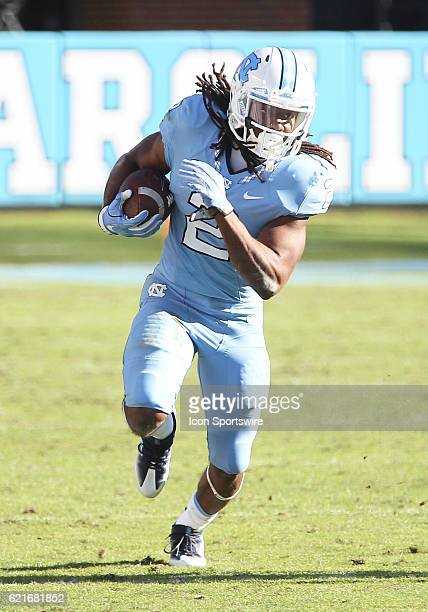 North Carolina Tar Heels running back Jordon Brown breaks a tackle for a long gain during the NCAA football game between the Georgia Tech Yellow...