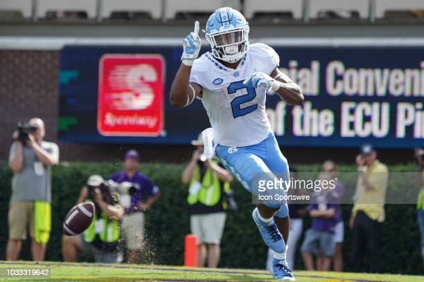 North Carolina Tar Heels running back Jordon Brown celebrates a touchdown during a game between the East Carolina Pirates and the North Carolina Tar...