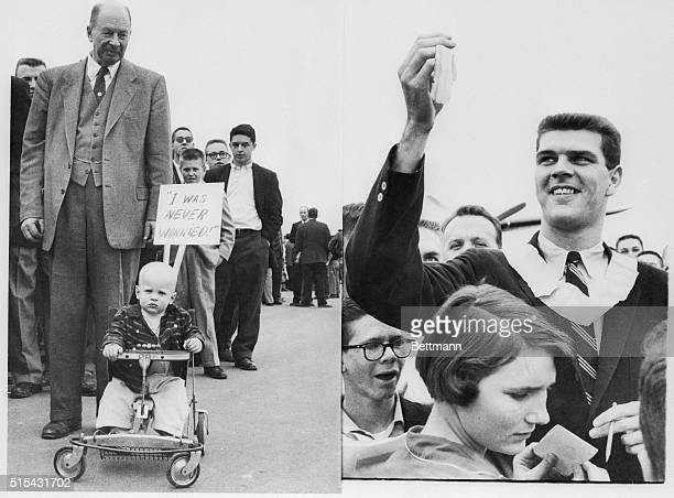North Carolina University Chancellor Robert House and 18 month old Billy Stauber head the welcoming committee as they await the arrival of the Tar...