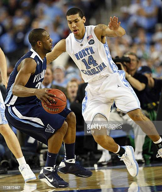 North Carolina's Danny Green guards Villanova's Shane Clark during the first half in a Final Four game at Ford Field in Detroit Michigan Saturday...