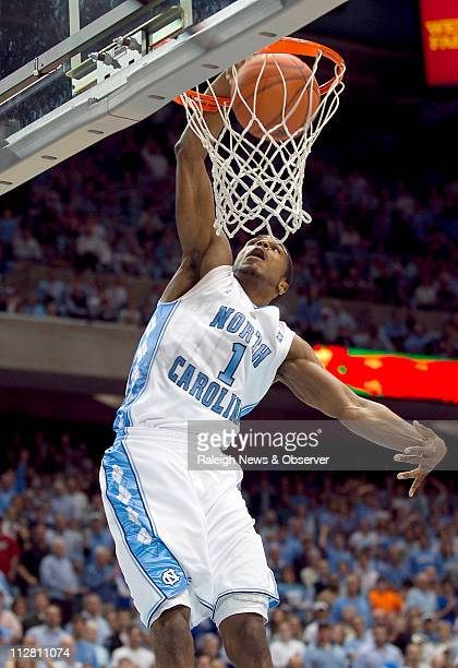 North Carolina's Dexter Strickland goes in for a dunk in the second half against College of Charleston on Sunday November 28 2010 at the Smith Center...