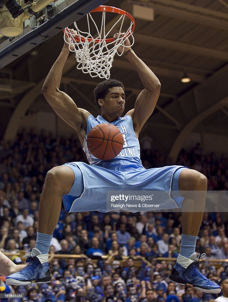 North Carolina's James Michael McAdoo (43) dunks in the first half against Duke at Cameron Indoor Stadium in Durham, North Carolina, on Wednesday, February 13, 2013.