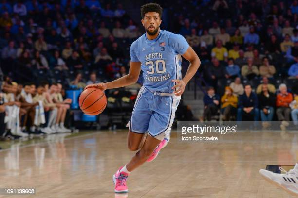 North Carolina's KJ Smith looks to drive to the basket during the game between the North Carolina Tar Heels and the Georgia Tech Yellow Jackets on...